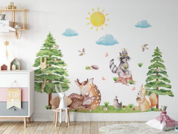 Leśne zwierzaki naklejki na ścianę LK1