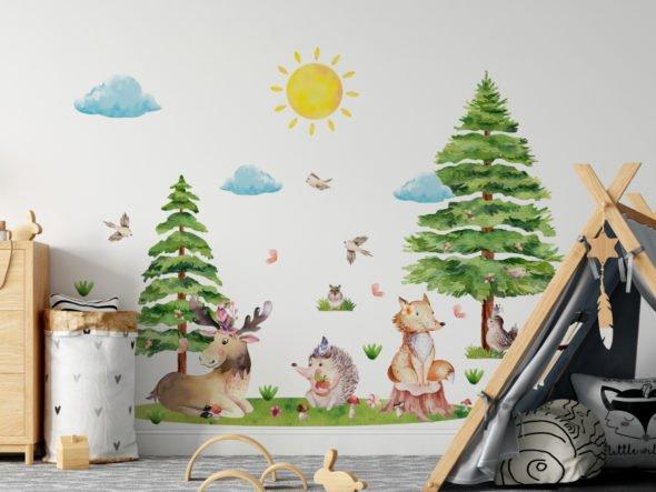 Leśne naklejki na ścianę do pokoju dziecka LK2