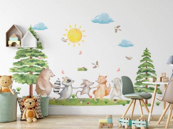 leśne zwierzątka do pokoju dziecięcego