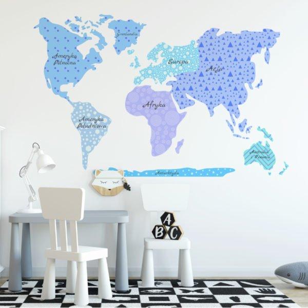 Naklejka mapa świata w odcieniach niebieskiego