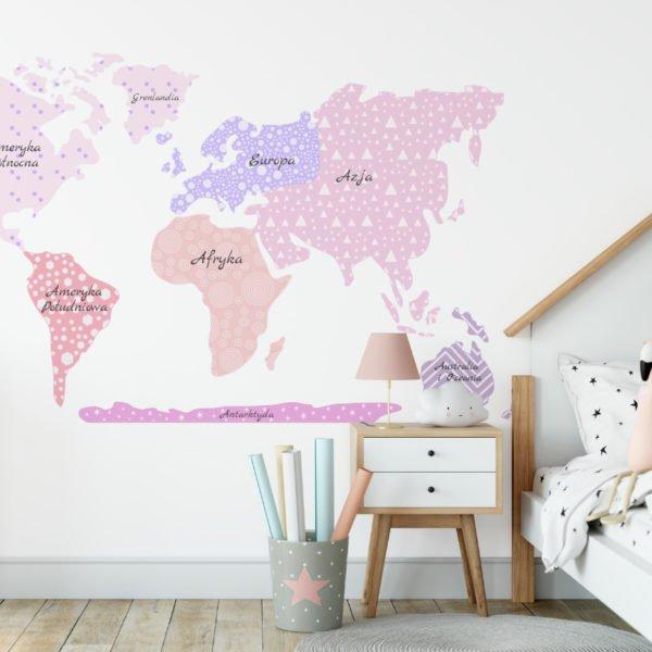 Mapa świata naklejka na ścianę różowa