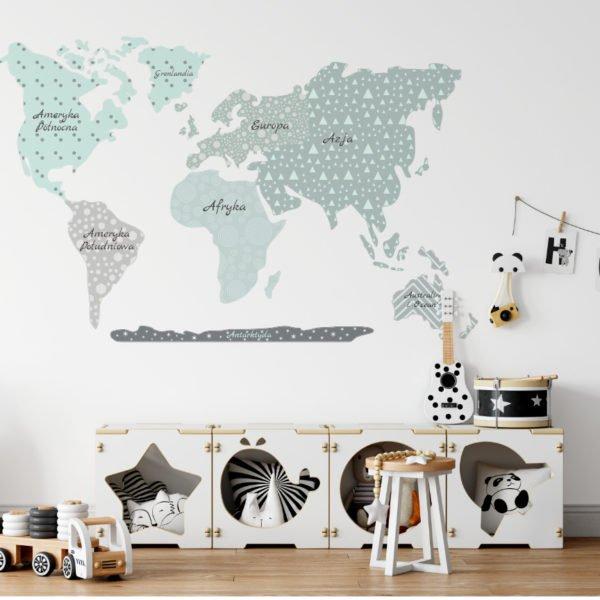Szara naklejka mapy świata