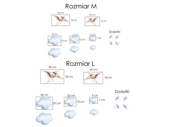Naklejki dinozaury pterodaktyl i chmurki