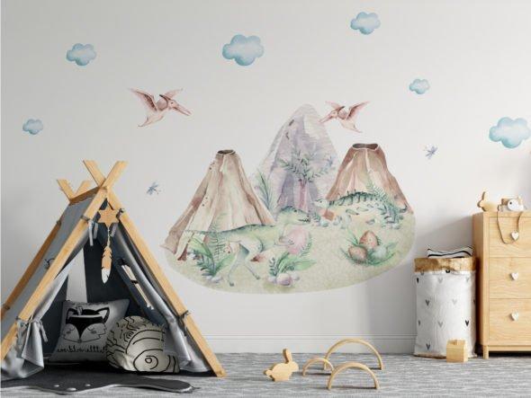 Naklejka dekoracyjna za łóżko dinozaury