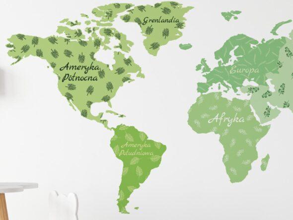 Naklejka na ścianę mapa świata zielona