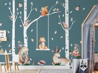 Leśne zwierzęta na ścianę naklejki