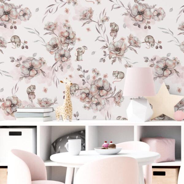 Różowa tapeta myszki dla dziewczynki