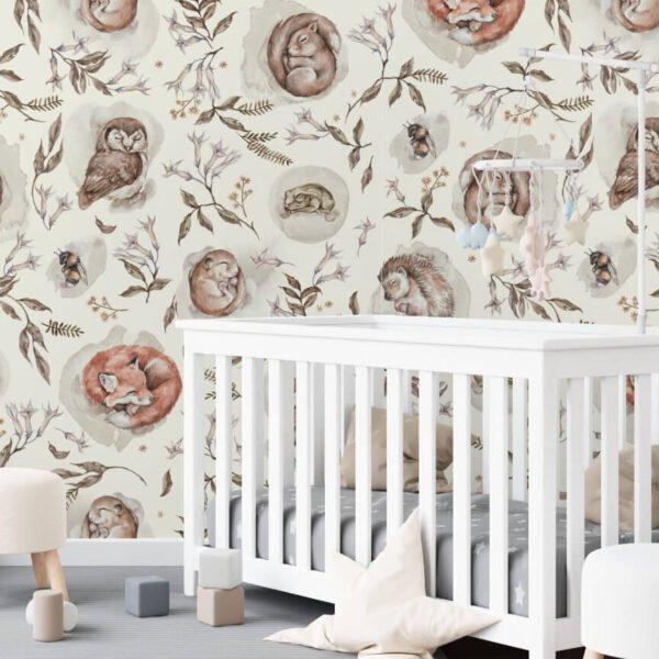 Tapeta śpiące zwierzęta do pokoju dziecka