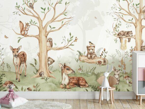 Tapeta leśne zwierzęta na ścianę