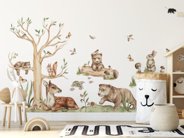 Zestaw leśnych naklejek na ścianę