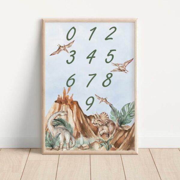 Plakat liczby z dinozaurami