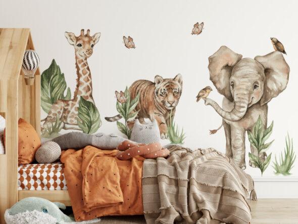 Tygrys słonik i żyrafa naklejki na ścianę