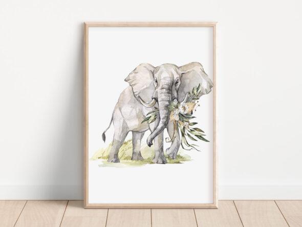 Plakat słoń sawanna