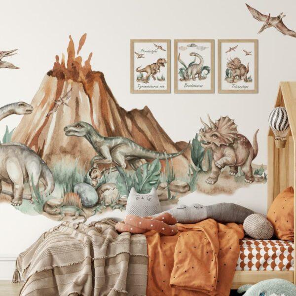 Dinozaury na ścianę naklejka za łóżko